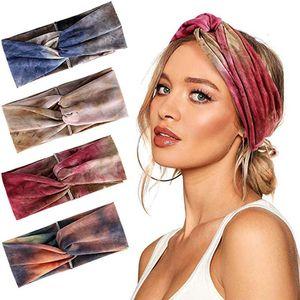 2020 Lady mantilha tie dye Bow Headband Moda Outono E Inverno Elastic Headwear malha de lã Faixa de Cabelo Sports Headband # G30