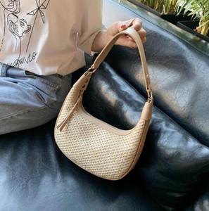 2020 new fashion luxury Beach Bag Half Moon Underarm Bag Designer Luxury Handbags Shoulder Bags Woven Bags Double Removable Shoulder Strap