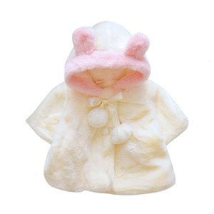 Clearance Baby Girls Coats Fashion Winter Warm Thickening Kids Outwear Cute Ear Hooded Coat Girls Costume Solid Children Clothing