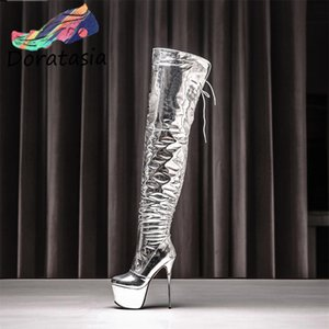 DORATASIA Sexy Women Platform Thin Heel Party Dress Shoes Autumn Boots Women High Heels Fashion Over The Knee Boots