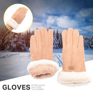 New Winter Female Soft Coral Fleece Wool Mittens Touch Screen Gloves Thick Plush Wrist Women Driving Gloves