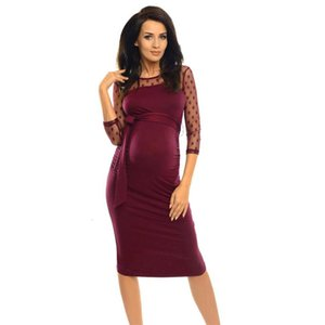 DHgate Fashion 4 Colors Women Maternity Solid Sheath Three Quarter Knee-Length Dot Lace Dress Hot drop shipped OB19