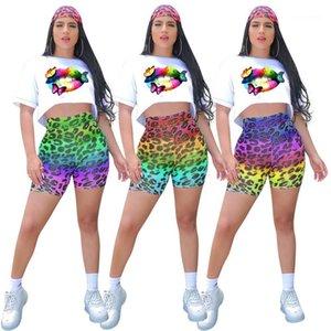 Womens due cortometraggi pezzo solido Labbra colore stampato corta Top Pantaloni stampato leopardo Luxury Fashion Designer