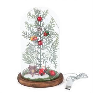 Miniature Arbre de Noël en verre e avec ornements cadeaux de lumières à DEL de lumière de mariage Garland Lampes Décorations de Noël
