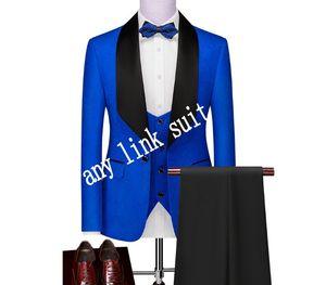 High Quality One Button Blue Paisley Groom Tuxedos Shawl Lapel Groomsmen Mens Suits Wedding Prom Dinner Blazer (Jacket+Pants+Vest+Tie) K525