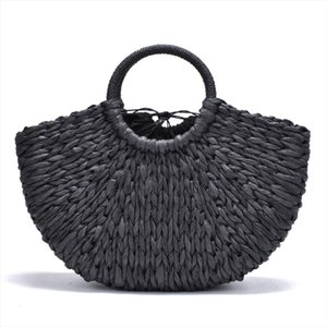 2020 new Handmade Bag Women Pompon Beach Weaving Ladies paper Straw Bag Wrapped Beach Bag Moon shaped