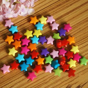Yiwu ganzheng 6*12mm straight hole five-pointed star solid color smooth Yiwu hole color material star beaded material iosqO