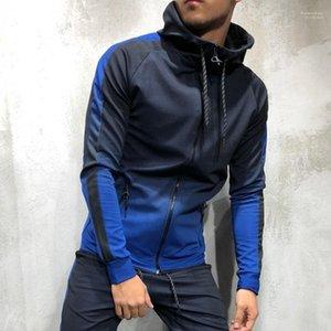Цветовой с длинным рукавом с капюшоном Кардиган фуфайка Hip Hop Style Мужской одеждой New Mens конструктора Толстовка мода Градиент