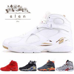 8 8s Kızılötesi Yansıtıcı Basketbol ayakkabıları erkekler üst Olimpiyat Oreo Sport Mavi DMP Kızgın boğa Beyaz Atletik Spor ayakkabılar
