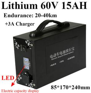 휴대용 배터리 용량 표시 60V 15AH 여분의 납 축전지 + 60V 1800W 1000W 전기 스쿠터 자전거 용 충전기 3A