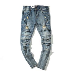 Streetwear Mens Washed Destroyed Jeans Distressed Ripped Biker Skinny Denim Pants Trend Soild Color Slim Fit Hole Jean T200827