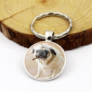 WG 1pc Fashion Pug Dog Keychain Pendant Cabochon Time Gem Metal Glass Ball Keyring Accessories Creative Gift