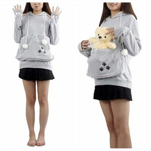 Japanese Fashion Style Hoodie Big Mewgaroo Kangaroo Pouch for Small Cat Dog Pet Grey Pullovers for Lovers 2020 Newest 4XL 3Color