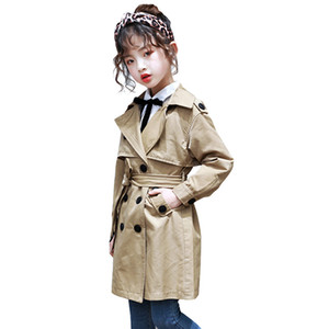 Girls Trench Coats Fashion Kids Windbreaker Girl Jacket Teenager 3-13 Years Outerwear Children Parka 7 seconds fish brand