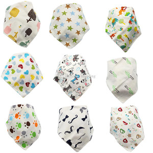 Cartoon Infant Triangle Fruit Cartoon Animals Bib Newborn Burp Cloths Baby Girls Boys Double Layer Toddler Animal Print Bibs C4395