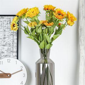 Bottle view artificial flower Sunflower Flower Artificial Plant Bonsai Wedding Decoration INS Wind party decora @5