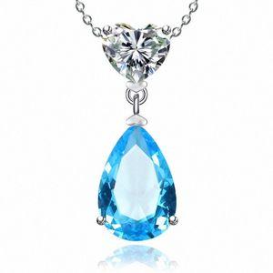 925 Sterling Silver Colares para mulheres simples Sapphire / Ruby Water Drop nupcial do casamento Fine Jewelry Pendant Nenhuma corrente BAVC #
