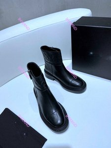 Chanel Todo-fósforo Martin botas para mujer de las botas de cuero Top superficie de cuero de calidad con cremallera Botas para damas de lujo Boo señoras de la plataforma moto