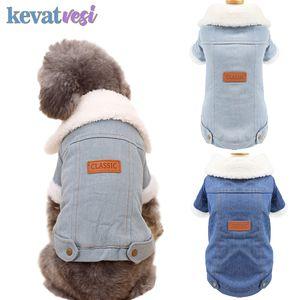 Inverno caldo dell'animale domestico vestiti del cane Fashion Dog Giacca di jeans addensare Plush Puppy Coat Two Legs vestiti del cane Chihuahua Outfits per animali