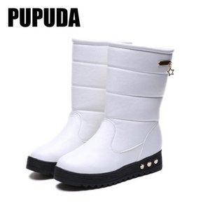 PUPUDA Schnee-Aufladungen Frauen-Plattform Stiefel Cowboy für Frauen Winter-bequeme beiläufige Femal Schuhe Leadies 2020