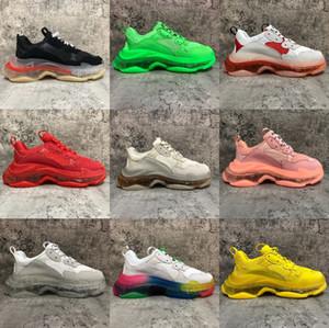 Cristal Sole Triple S Sneakers das mulheres dos homens calçados casuais Triplo Verde Amarelo Paris 17FW Moda Plataforma Casual estilista Shoes EUR 36-45