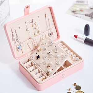 Korean style fresh and simple girl earrings plate leather jewelry box portable PU fresh and simple jewelry box with mirror