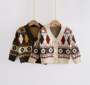 Kids geometric plaid cardigan children V-neck single-breasted knitted long sleeve outwear 2020 New boys sweater cardigan A3978