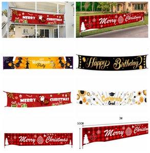 Merry Christmas Banner streamer graduado de Halloween Bandera del feliz cumpleaños grande signo de Navidad de la casa del partido de la decoración de los apoyos de 3M * 50cm FFA4367