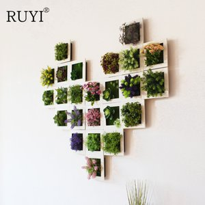 Modern Pastoral Simulation Succulent Plants Potted Photo Frame Wall Decoration Artificial Flowers Plant Wall Home Decoration