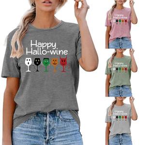 Halloween Sommer-Frauen Designer-T-Shirts GLÜCKLICHE HALLO WEIN Brief gedruckte kurze Ärmel Tees Casual Weibliche Kleidung