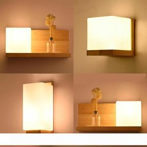 Moderne LED-Holz-Wandleuchten Nordic Mattglas-Holzleuchten Sconce Flur Aisel Hotel-Schlafzimmer Minimalist Massivholz-Korridor-I35