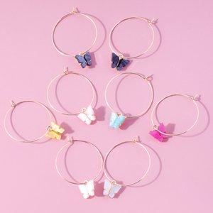 Women Colorful Acrylic Big Circle Butterfly Pendant Earrings Creative Simple Butterfly Ear Buckle Hoop Earrings Fashion Jewelry