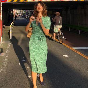 Le donne stampa floreale estate curvatura del V-collo sexy delle donne dell'annata Dress Lace-up aderente Femminile Beach Rouje cwd0044-5