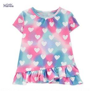 Küçük maven yaz yeni kısa kollu pamuklu kısa kollu Çocuk tişört boyun çocuk tişört yuvarlak kadınların tarzı