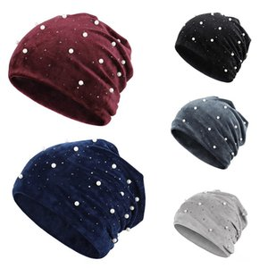 New Arrial Knitted Hat Beanie Unisex Solid Color Keep Warm Elastic Winter Hats Beaded Hat Pearl Encrusted For Women