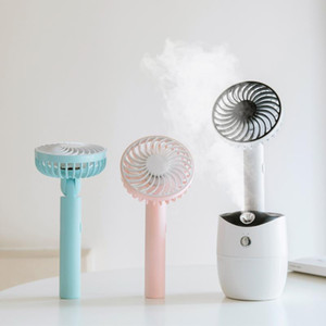 Detachable Rotary Mist Spray Fan Up Down 180° Supply Wind 90 Degree Rotation Portable USB Rechargeable Fan Humidifier Aroma