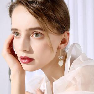 Amour de longues boucles d'oreilles, bijoux oreille française haut de gamme, tout correspond à la taille d'or de champagne à la mode approprié pour rassembler 5,7cm parti social