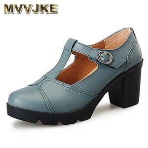 MVVJKE 2020 women Sexy heel pumps genuine leather shoes woman buckle platform T strap round toe pumps women shoes