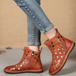 2020 Spring and Summer New Retro Hight-Top Sandal Boots Fashion Hollow Flat Low Heel Foreign Trade Hot Selling Rome Sandals
