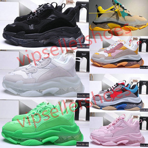 2020 Hott 17FW üçlü s berrak tek Günlük Ayakkabılar siyah beyaz yeşil gri yeşil renk açık taban Erkekler Kadınlar Sneakers fluo Paris Baba Koşu kırmızı