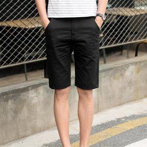 FqBm1 pantalones cortos de los hombres delgados del verano de los hombres de verano cosecharon algodón ocasional del estilo de Corea pantalones cortos hasta los tobillos Beach pantalones de playa recta 5 pantalones de moda