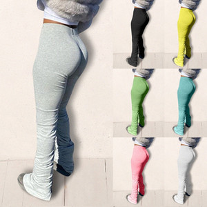 Kadınlar Yüksek Bel Sweatpants Pileli Koşucular 2020 Elastik Yaz Yığın Tozluklar Hem Flare Dantelli Pantolon Bölünmüş Bell Alt Pantolon iDUi #