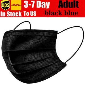 Preço mais baixo 3-7 Dias para Máscaras US descartáveis rosto com Elastic Ear laço 3 Ply respirável para bloquear Poeira Air Anti-Poluição azul preto