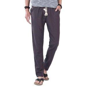 MISSKY мужские длинные брюки повседневные брюки весна лето сплошной цвет простой стиль льняные Straight Elastic Rope брюки для мужского