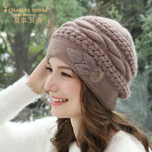 Women Hats Autumn Winter Wool Knitted Caps Double Layer Thermal Ear Protection Middle-Aged Rabbit Hair Blend Beanies D303