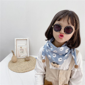 Childrens Trendy Triangle Scarf 2020 New Girls Cartoon Print Scarf Kids Cute Polka Dot Print Scarves Baby Warm Scarves