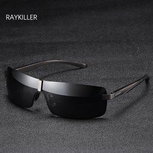 Eyewear Pilote Rectangle Lens Hommes Pêche polarisée Pêche en miroir Raykiller avec protection UV400 Case à lunettes de soleil extérieures ORLKW
