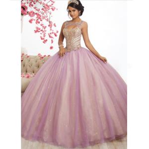 새로운 핑크 얇은 명주 그물 긴 댄스 파티 드레스 볼 가운 2020 새로운 디자인 구슬 톱 달콤한 16 개 드레스 이브닝 드레스 성인식 Vestido 드 축제