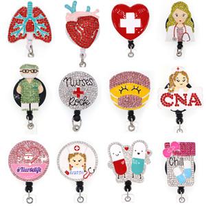 30 50 pcs lot New Arrival Doctor nurse Rhinestone Retractable Id Badge Holder Reel