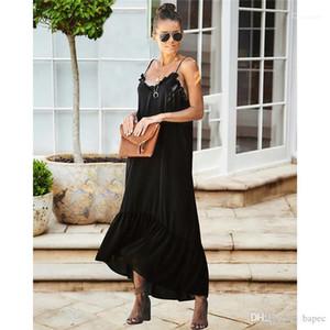 Donna Solid Dress con tubazioni rivestite femminili abiti da striscia di spaghetti casuale signore Abiti Moda Abiti estate Backless